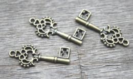 Antique filigree pendAnt online shopping - 40pcs Key charms Antique bronze Lovely Mini Filigree Flower key Charm Pendant x28mm