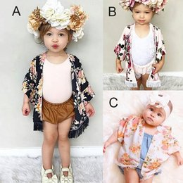 Girls Cotton Poncho Wholesale Australia - 2018 New Fashion Baby Girls Caps Poncho with Tassels Black Pink Floral Printed Half Wide Sleeve Spring Summer Thin Tops Outfits 3 Styles