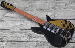 Chinese  RIC John Lennon 325 Short Scale Length 527mm Black Electric Guitar Bigs Tremolo, Brown Paint Fingerboard, 3 Toaster Pickups, Gold Pickguard manufacturers