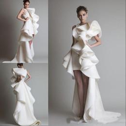 2018 Hot Design Wedding Dresses One Shoulder Appliques Ruffles Sheath Hi Lo Organza New Customed White Ivory Krikor Jabotian Bridal Gowns