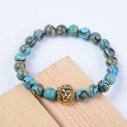 Mens gold lion head bracelet online shopping - Mens Womens MM Healing Energy Gemstone Beads Stretch Bracelet Gold Alloy Lion Head Support FBA Drop Shipping Free DHL G812S