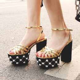Summer new style, fashion,high heel, slope heel, waterproof platform, large size, sandals, thick soles, muffins, pearl shoes