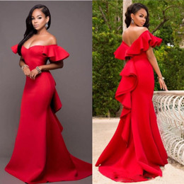 Wholesale Gorgeous Red Off Shoulder Prom Dresses Satin Backless Mermaid Evening Gowns Saudi Arabia Ruched Sweep Train Formal Party Dress