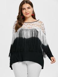 Discount black blocks - Kenancy Plus Size 5XL Fashion Fringed Long Sleeves Women Shirts Black White Color Block Lace Tassel Party Blouse Club Bl