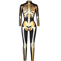 China Holloween Women Jumpsuit 3D Printing golden skull Sexy High Waist Long sleeve Tight Ladies Halloween Club Wear Party CQ001 supplier long tight jumpsuits suppliers