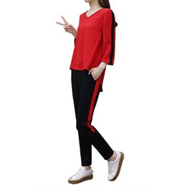 Wholesale quarter pants for sale – dress New Casual Women Set Three Quarter Polyester T shirts And Ankle Length Pants Twinset Loose Fitting Sportswear