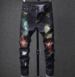 oil paintings italy 2019 - New Men's Italy Style Hip-hop Pants Oiled Painted Ripped Blue Jeans Slim Fit Scratched Trousers #1631 cheap oil pai
