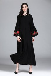 bc3dd70d734 Raya Dress Middle East Women s Muslim Robe Dress Dubai Abaya Maxi Long  Dresses Summer Plus Size Ethnic Clothing Embroidered on Cuff