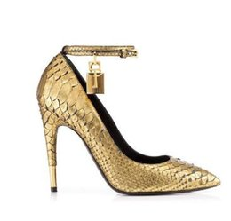 $enCountryForm.capitalKeyWord UK - 2018 Gold Faux Snake Leather High Heels Ladies Shoes Metal Padlock Women Shoes Sexy Pointed Toe Buckle Strap Women Pumps
