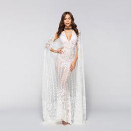 Ankle Length High Neck Wedding Dresses UK - Summer women's wear lace dress V collar sleeveless high waist pure white dress + nightclub wedding cloak fashion suit two pieces