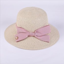 big hats for sun NZ - 2018 new Pearls Sun Hat Big Bow Summer Hats For Women Foldable Straw Beach Panama Hat Visor Wide Brim Femme Female