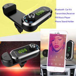 Hands Free Phone Holder Australia - Hands Free Wireless Bluetooth FM Transmitter TF AUX Modulator Car Kit MP3 Player Air vent Holder Stand Car Phone Holder