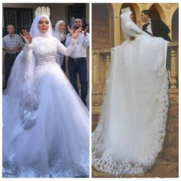 $enCountryForm.capitalKeyWord NZ - Said Mhamad Beautiful Mulsim Wedding Dresses High Neck Lace Appliques Beads Tulle Ball African Vestido de novia Bridal Gowns Long Sleeves