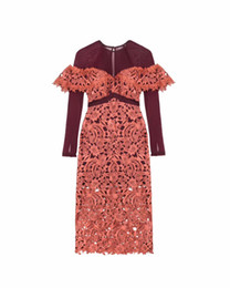 $enCountryForm.capitalKeyWord UK - New 2019 Spring High Quality Runway New Fashion Lace women Ankle Length Long sleeve Hollow flower Party Dresses Patchwork dress