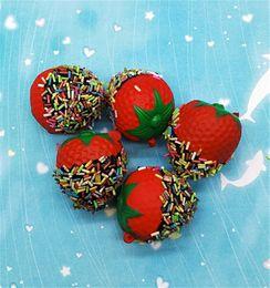Strawberry chocolateS online shopping - Fruit Shape Squishy Decompression Toys Simulation Chocolate Strawberry Squishies Slow Rising Phone Straps Charm Pendant hb CR