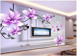 Discount live wallpaper lily - Wholesale-3D photo wallpaper custom 3d wall murals Purple beautiful lily space 3D TV background wallpaper for walls 3d p