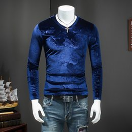 T Shirts For Men NZ - V Neck T Shirts for Men Slim Fit Velvet T Shirts Mens Royal Blue Winter Tshirt for Men Brown Tee Fashion 2018 Cashew Flowers Top