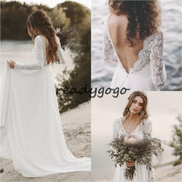 $enCountryForm.capitalKeyWord NZ - Fall White Top Lace Cheap Country Beach Wedding Dresses V Neck Full Sleeve Chiffon Low Back Bohemian Bridal Gowns Slim casual Bride