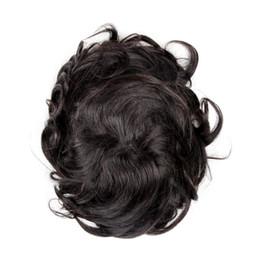 Cheveux humains Hommes Toupee Remplacement Postiche Soie Droite Mince Peau Homme Perruques 130% Densité Noir / Naturel Noir Couleur en Solde