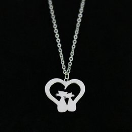 two heart pendant 2019 - Heart Shaped Two Cats Pendant Necklace Love Valentine's Day Stainless Steel Gold Lover Women Gift Charm Jewelry Who