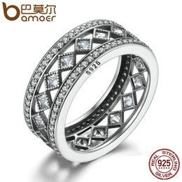 Tungsten Ring Women Cz Australia - BAMOER Hot Sale 925 Sterling Silver Square Vintage Fascination, Clear CZ Big Ring For Women Luxury Fashion Jewelry S925 PA7601 C18110801