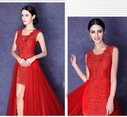 Strapless Sequin Red Dress Australia - zkc uncle 2018 sexy red short front long back lace chiffon sleeveless cocktail dresses plus size,2488.ty.hd