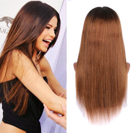 1b Straight Hair Australia - 150 Density Brazilian Ombre Honey Blonde Color 1B 27 Thick Glueless Full Lace Human Hair Wigs Straight Lace Front Wig For Black Women
