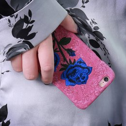 Textile Patterns NZ - KISSCASE 3D Rose Patterned for iphone 6s plus case Embroidery Floral Phone Case For iphone 8 plus case