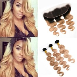 Human Hair 27 Australia - Dark Roots Blonde Ombre Hair Weaves with Frontal Lace Closure 1B 27 Honey Blonde Ombre Body Wave Human Hair Bundles with Frontal