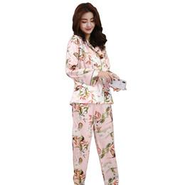 Silk Pajamas Pants UK - 2018 Summer Ladies 2 Piece Sleepwear Print Floral  Shirt+Pants d9fc12c49