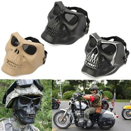 Discount skeleton tactical mask - Halloween Tactical Scary Skull Skeleton Full Face Security Mask War Game Half Face Masks for Party