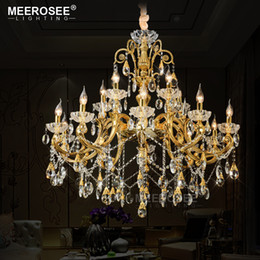 Discount large foyer chandeliers - Large Foyer Modern Chandelier Candle Crystal Chandelier Fixture lighting lamparas de techo Suspension Hanging Lamp 15 Ar