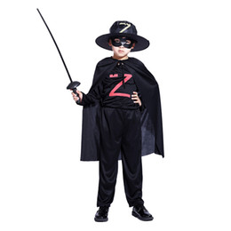 black zorro masks 2020 - Halloween children's clothing boys Zorro Masked knight costume masquerade Cosplay clothes Night clothes cheap black
