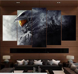 Decorating Art Deco NZ - HD Printing Game Halo Poster Boys Room Deco Canvas Paintings Modern Home Prints Liveing Room Deco Wall Art Decorate Painting