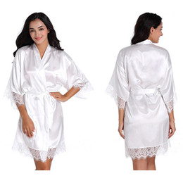 Discount lace above knee wedding dress - Satin Silk Women's Bridal Short Lace Up Kimono Robe Sleepwear Sexy Lady Wedding Robes Dressing Gown