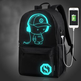 anime laptop 2018 - 2018 New Student School Backpack Anime Luminous USB Charge Laptop Computer Backpack for Teenager Anti-theft Boys School
