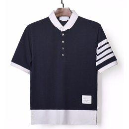 springsummer tb Classic Cotton Piqué 4-полосная полоса с коротким рукавом tho POLO Короткая футболка мужская женская коричневая футболка на Распродаже