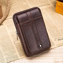 travel bum bags leather Australia - Genuine Leather Men Fanny Waist Bag Phone Coin Purse Pocket Belt Bum Pouch Pack Card Holder Money 5.5 Inch Travel Small Blosa