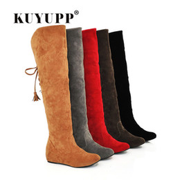 $enCountryForm.capitalKeyWord NZ - Hot Quality Womens Boots Faux Suede Over the Knee Flat Warm Boots Comfortable Thigh High Boots Lace-up Woman Winter Shoes 1DDT03
