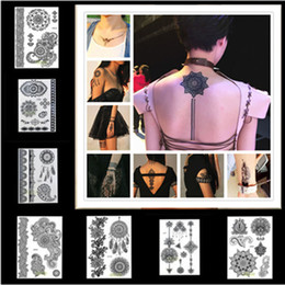 Wholesale New Black Henna Lace Temporary Tattoo Waterproof Disposable Transfer Tattoos Styles Inspired Sticker Body Art Decorations WS003