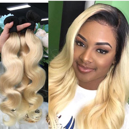 $enCountryForm.capitalKeyWord Australia - Dark Root Blonde Ombre Brazilian Body Wave Human Hair Bundles Weaves T1b 613 Two Tone Virgin Remy Hair Weft Extensions 3pcs 8-30 inch