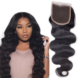 $enCountryForm.capitalKeyWord NZ - Peruvian Body Wave Human Hair Lace Closure 4*4 Natural Color Bleached Knots Virgin Remy Hair Extension Free Part Middle Part three Part 1Pc