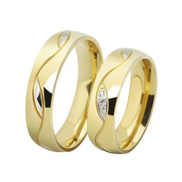 engagement couple ring gold diamond 2019 - Wholesale-fashion CZ diamond couple rings for men women 18k gold plated stainless steel wedding ring pair fine jewelry a