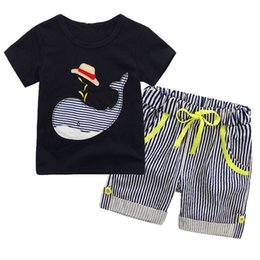 Chinese  Kids Boys Navy Whale Clothes Sets 2018 Baby Two Pieces Clothing Toddler Summer Sets Children T-Shirt And Striped Shorts For 2-7T manufacturers