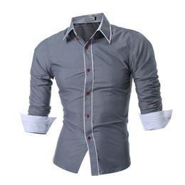 Double Shirt Designs Australia - 2017 New Mens Long Sleeved Man Dress Shirts Double Collar Button Unique Design Slim Fit Brand Shirts Male Shirts