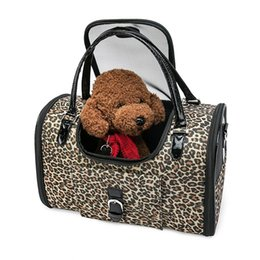 cheap small tote bags UK - Luxury Leopard Pet Cat Small Dog Travel Carrier Bag Outdoor Pu Leather Portable Dog Chihuahua Carrying Tote Bag With Purse Cheap Discount