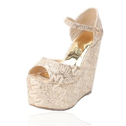 Wedding Shoes Lace Wedge Heel NZ - Large Size Lace Bridal Shoes 15 CM Wedge Heel Women Designer Sandals Peep Toe Gold Wedding Pumps
