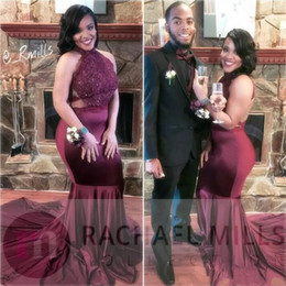 $enCountryForm.capitalKeyWord NZ - Burgundy African Sexy High Neck Lace Top Prom Dresses Sleeveless Mermaid Backless 2K18 Evening Party Gowns Cheap Formal Wear for Black Girls