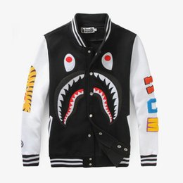 China 2018fashion The tide card shark mouth yeezus stamp skateboard casual cardigan men and women couples dress Baseball Shirt hip hop coat cheap dress stamps suppliers