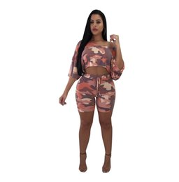 cd27e9c85df Camo Sexy Two Piece Women Set Summer Short Sleeve Crop Top and Shorts Pants Matching  Sets 2pcs Women Camouflage Tracksuit